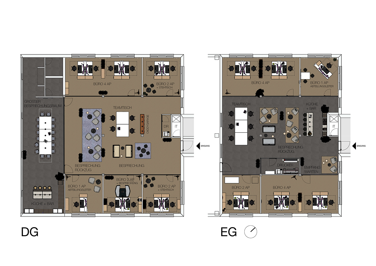 Zeichnung Büroplanung für moderne Arbeisplätze im Rahmen von Bauvorhaben – Conwick und Staehlin