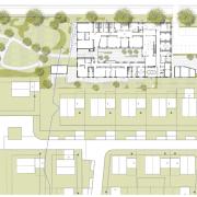 Lageplan-Ausschnitt (3+Architekten) von der neuen KITA in Bobingen mit Bauherrenvertretung Conwick